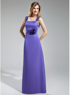 Sheath Square Neckline Floor-Length Satin Lace Bridesmaid Dress With Flower(s) (007019641)