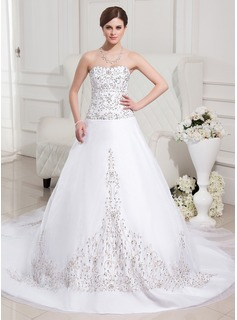 Ball-Gown Sweetheart Chapel Train Organza Satin Wedding Dress With Embroidery Beadwork Sequins (002012747)