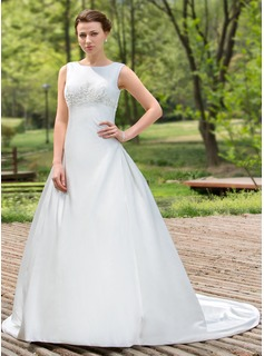 Ball-Gown Scoop Neck Chapel Train Satin Wedding Dress With Beadwork Sequins (002012880)