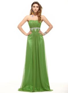 Empire Sweetheart Floor-Length Chiffon Evening Dress With Ruffle Beading