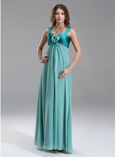 Empire Sweetheart Floor-Length Chiffon Charmeuse Maternity Bridesmaid Dress With Ruffle Flower(s) (045022487)