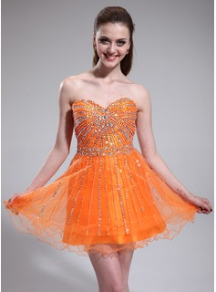 A-Line/Princess Sweetheart Short/Mini Taffeta Tulle Homecoming Dress With Beading Sequins (022025383)