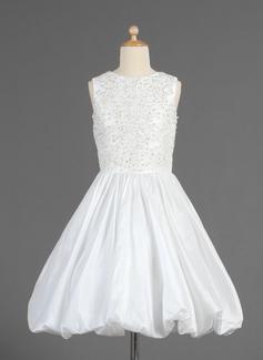 Corte A/Princesa Escote redondo Té de longitud Tafetán Vestido para niña de arras con Volantes Encaje Bordado Lentejuelas