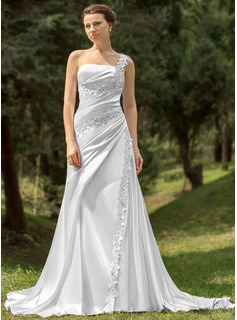 A-Line/Princess One-Shoulder Cathedral Train Charmeuse Wedding Dress With Ruffle Lace Beadwork (002000109)