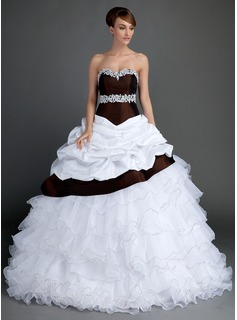 Ball-Gown Sweetheart Sweep Train Taffeta Organza Wedding Dress With Lace Beadwork