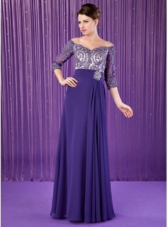 A-Line/Princess Off-the-Shoulder Floor-Length Chiffon Charmeuse Mother of the Bride Dress With Ruffle Lace Beading (008018708)