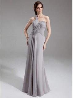 Sheath One-Shoulder Floor-Length Chiffon Mother of the Bride Dress With Ruffle Beading Sequins (008005938)