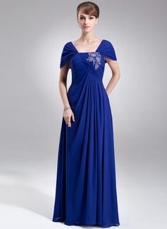 Vestidos princesa/ Formato A Sem o ombro Longos De chiffon Vestido para a mãe da noiva com Pregueado Renda Bordado Lantejoulas