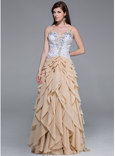 A-Line/Princess Sweetheart Floor-Length Chiffon Tulle Charmeuse Prom Dress With Lace Beading