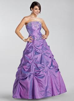 Duchesse-Linie Trägerlos Bodenlang Taft Quinceañera Kleid (Kleid für die Geburtstagsfeier) mit Bestickt Rüschen Perlen verziert Pailletten