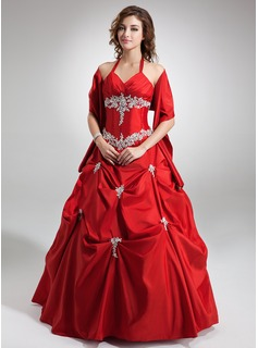 Ball-Gown V-neck Floor-Length Taffeta Quinceanera Dress With Ruffle Lace Beading Sequins (021004554)