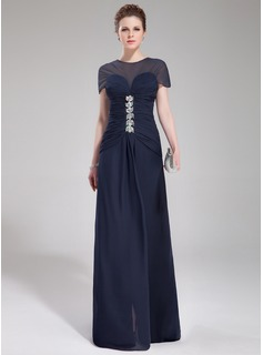 A-Line/Princess Scoop Neck Sweep Train Chiffon Evening Dress With Ruffle Beading (017019449)