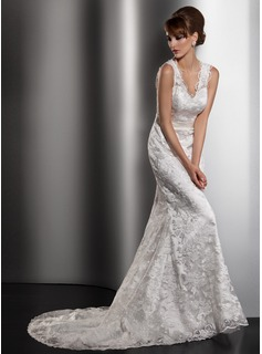 Sheath/Column V-neck Court Train Charmeuse Lace Wedding Dress