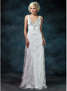 Sheath/Column V-neck Watteau Train Chiffon Tulle Charmeuse Wedding Dress With Ruffle Lace Beadwork (002000229)