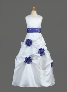 A-Line/Princess Scoop Neck Floor-Length Satin Flower Girl Dress With Sash Beading Flower(s) Sequins