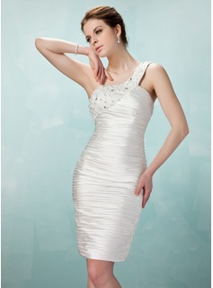 Sheath One-Shoulder Knee-Length Charmeuse Cocktail Dress With Ruffle Beading (016008294)