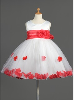 Empire Scoop Neck Knee-Length Satin Tulle Flower Girl Dress With Ruffle Sash Flower(s)