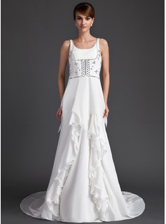 A-Line/Princess Scoop Neck Court Train Chiffon Wedding Dress With Beadwork (008015959)