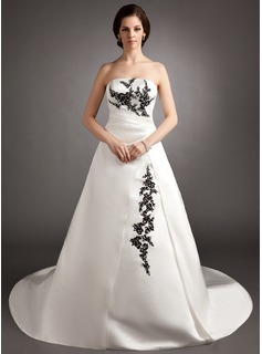 Ball-Gown Strapless Court Train Satin Wedding Dress With Embroidery Ruffle Beadwork Sequins