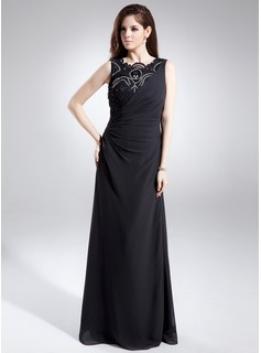Sheath Scoop Neck Floor-Length Chiffon Mother of the Bride Dress With Lace Beading (008015876)