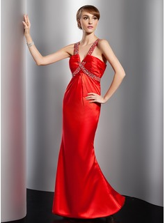 Mermaid V-neck Floor-Length Charmeuse Evening Dress With Ruffle Beading