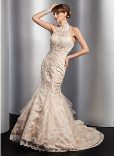 Mermaid High Neck Chapel Train Satin Tulle Wedding Dress With Lace Beadwork Sequins