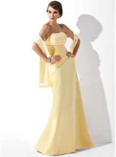 A-Line/Princess Strapless Floor-Length Satin Bridesmaid Dress With Ruffle Lace