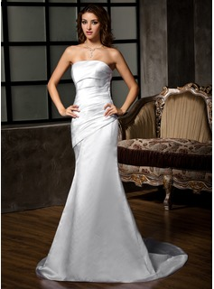 Trumpet/Mermaid Strapless Court Train Satin Wedding Dress With Ruffle