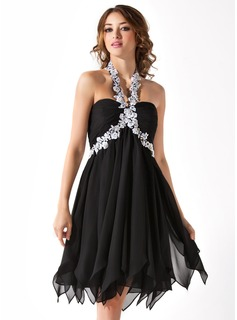 Empire Halter Knee-Length Chiffon Homecoming Dress With Beading Appliques Cascading Ruffles