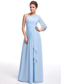 Vestidos princesa/ Formato A Um ombro Longos De chiffon Vestido de madrinha com Pino flor crystal Babados em cascata