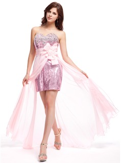 A-Line/Princess Sweetheart Floor-Length Chiffon Sequined Prom Dress With Beading Flower(s)