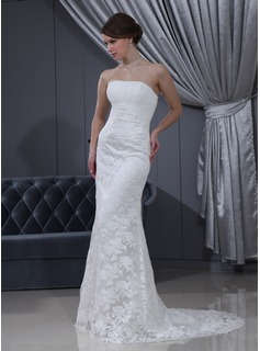 Sheath/Column Strapless Court Train Chiffon Satin Lace Wedding Dress With Ruffle Beadwork