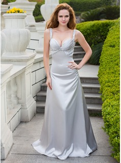 A-Line/Princess Sweetheart Sweep Train Charmeuse Prom Dress With Beading