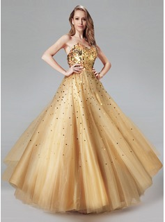 A-Line/Princess Sweetheart Floor-Length Tulle Prom Dress With Sequins