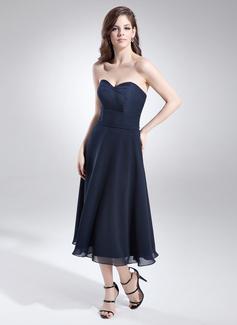 A-Line/Princess Sweetheart Tea-Length Chiffon Homecoming Dress With Beading