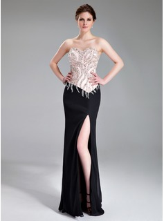 Sheath/Column Sweetheart Floor-Length Chiffon Charmeuse Evening Dress With Beading Sequins Split Front