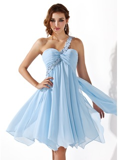 Empire One-Shoulder Knee-Length Chiffon Homecoming Dress With Ruffle Lace Beading (022008969)