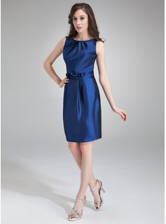 Sheath Scoop Neck Knee-Length Taffeta Cocktail Dress With Ruffle Flower(s) (016021256)