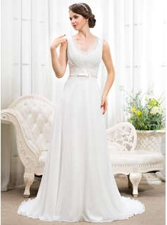 A-Line/Princess V-neck Sweep Train Chiffon Charmeuse Wedding Dress With Ruffle Lace Beading Sequins Bow(s)