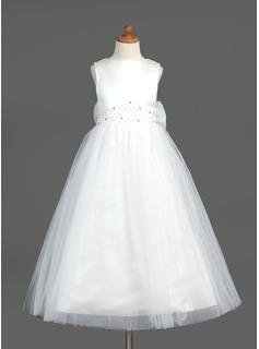 A-Line/Princess Scoop Neck Ankle-Length Organza Satin Tulle Flower Girl Dress With Beading