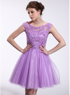 A-Line/Princess Off-the-Shoulder Short/Mini Tulle Charmeuse Homecoming Dress With Beading Sequins (018025268)