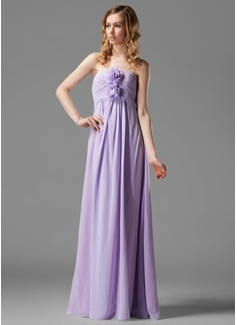 Empire Sweetheart Floor-Length Chiffon Bridesmaid Dress With Ruffle Flower(s)