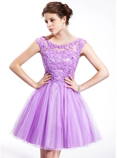 Knee-Length Tulle Charmeuse Prom Dress With Beading Sequins