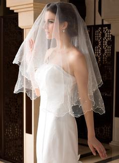 Uno capa Velos de novia vals con Borde en perla/Recortada