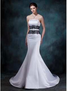Mermaid Strapless Court Train Satin Wedding Dress With Lace Crystal Brooch (002001154)