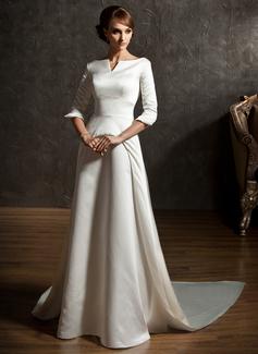 Corte A/Princesa Hombros caídos Cola watteau Satén Vestido de novia