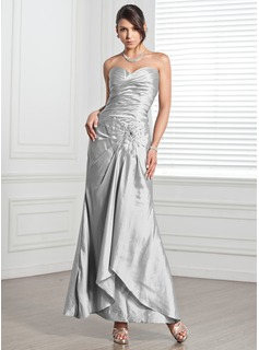 Sheath Sweetheart Ankle-Length Taffeta Evening Dress With Ruffle Beading (017005318)