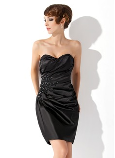 Etui-Linie Herzausschnitt Kurz Charmeuse Cocktailkleid mit Rüschen Spitze Perlen verziert