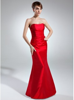 Sheath Sweetheart Floor-Length Taffeta Bridesmaid Dress With Ruffle