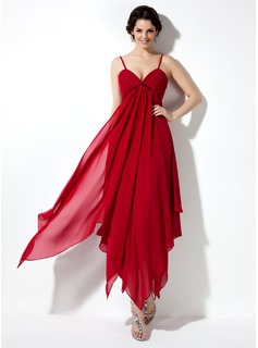 Empire V-neck Ankle-Length Chiffon Charmeuse Homecoming Dress With Ruffle